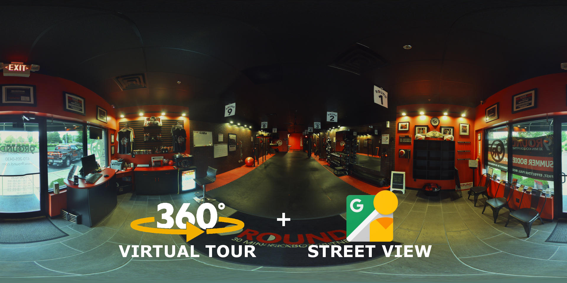 Mythos Media - 9Round Fitness West Cobb Virtual Tour and Google Street View.