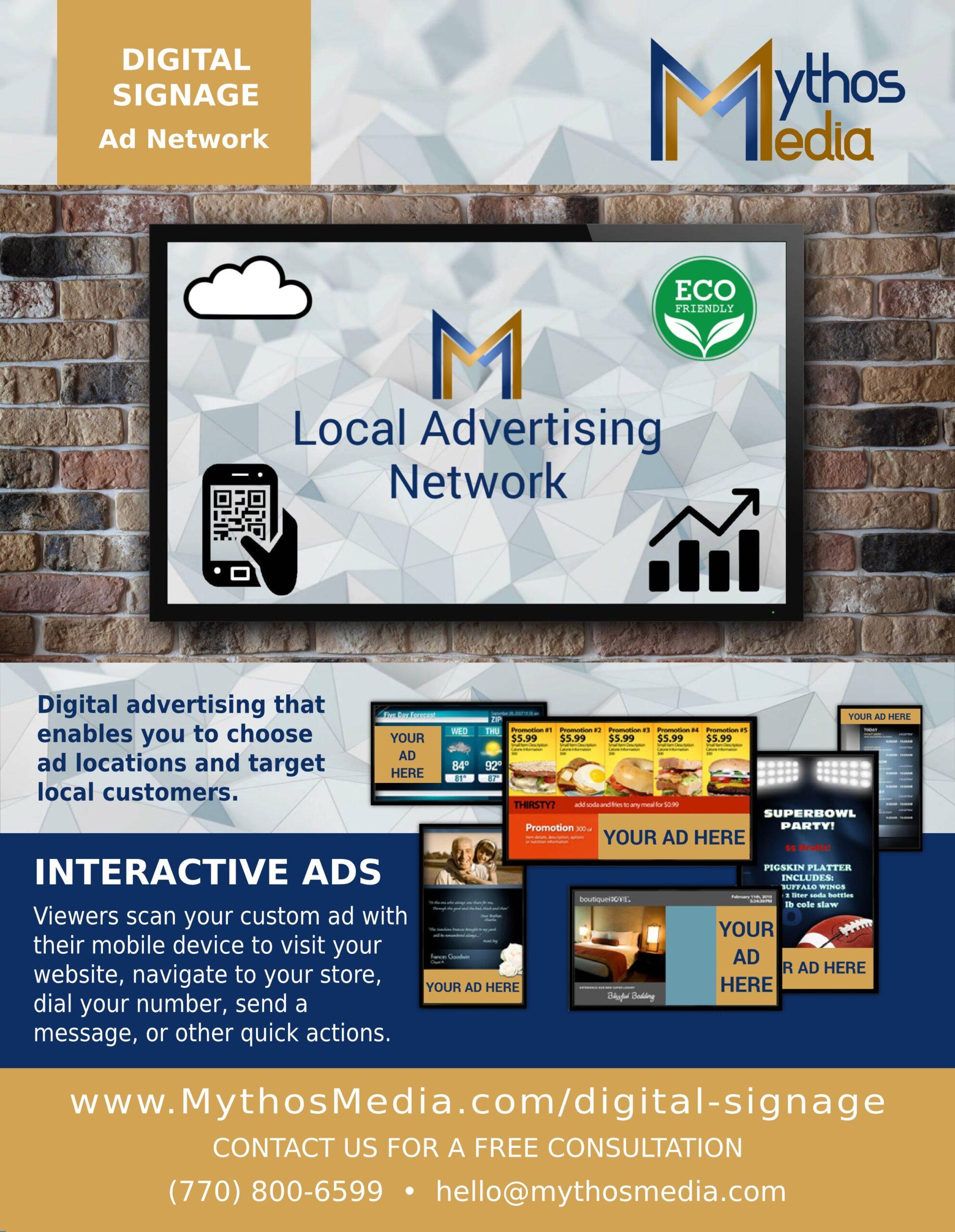 Mythos Media - Digital Signage Advertisers Flyer