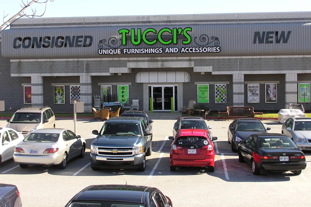 Mythos Media Digital Signage Project - Tucci's Unique Furniture in Kennesaw Georgia, building exterior