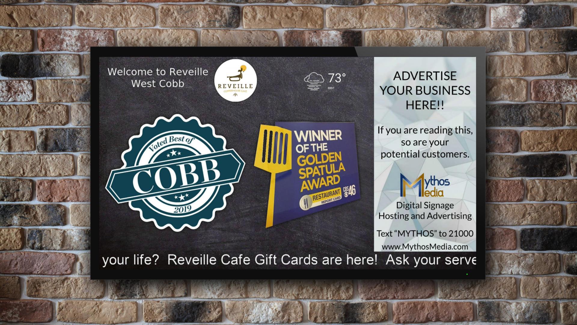 Mythos Media Digital Signage at Reveille Cafe, Best of Cobb, Golden Spatula Awards