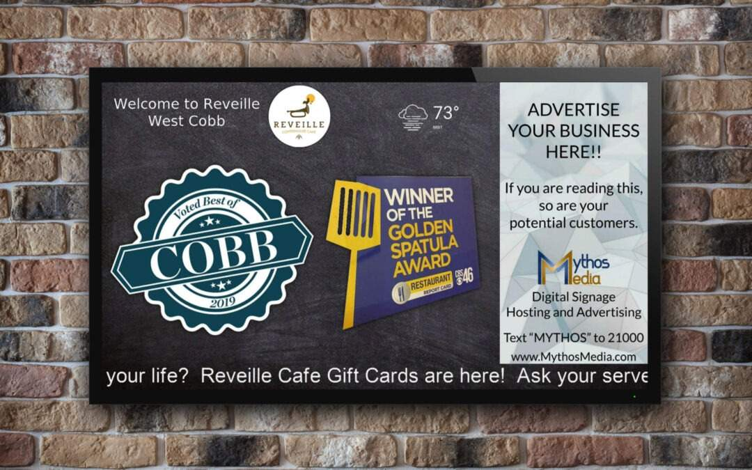 Digital Signage Project – Reveille Cafe Restaurants