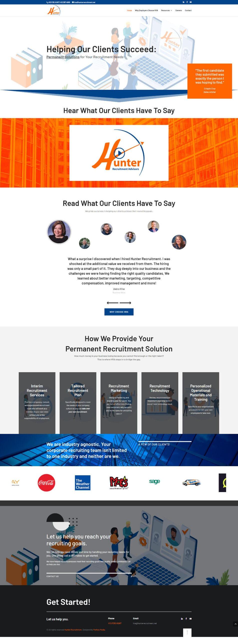 Hunter Recruitment Advisors Website by Mythos Media