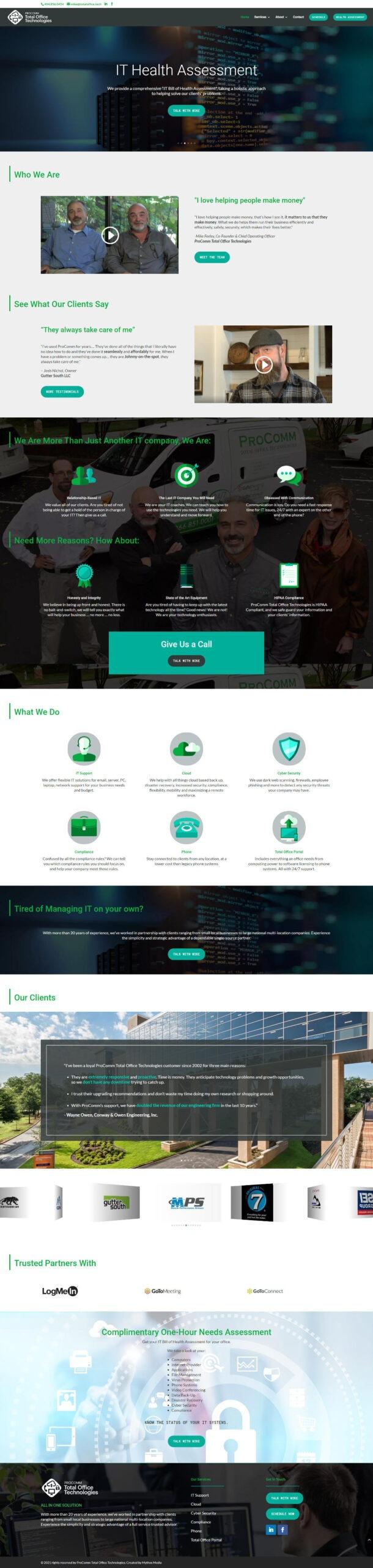 Procomm Total Office Technologies Website by Mythos Media